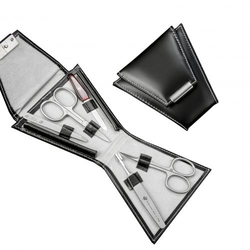 set manicure nero con forbice unghie inox, forbice pelle inox, ferretto inox, limettainox e pinzetta inox